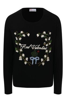 Женский пуловер из шерсти и вискозы REDVALENTINO черного цвета, арт. VR3KC06B/5N8 | Фото 1