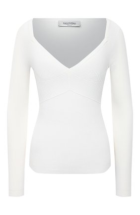 Женский пуловер из вискозы VALENTINO белого цвета, арт. VB3KCC04656 | Фото 1