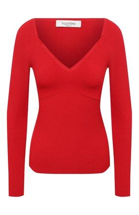 Женский пуловер из вискозы VALENTINO красного цвета, арт. VB3KCC04656 | Фото 1