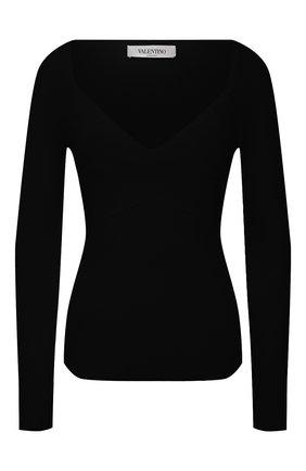 Женский пуловер из вискозы VALENTINO черного цвета, арт. VB3KCC04656 | Фото 1