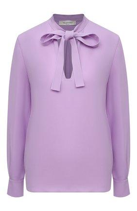 Женская шелковая блузка VALENTINO сиреневого цвета, арт. VB3AE5Q51MH | Фото 1