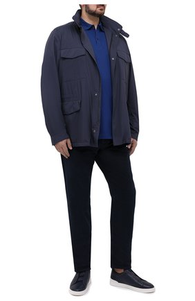 Мужское хлопковое поло  PAUL&SHARK темно-синего цвета, арт. C0P1013/C00/3XL-6XL | Фото 2