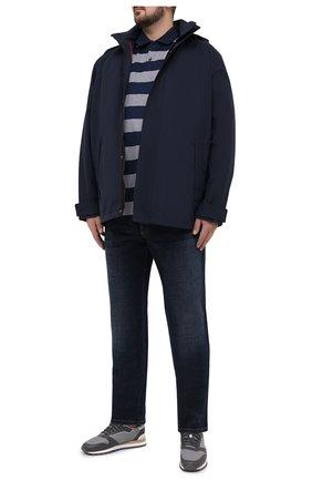 Мужское хлопковое поло  PAUL&SHARK серого цвета, арт. C0P1012/C00/3XL-6XL   Фото 2