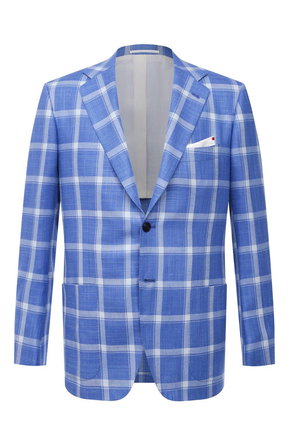 Мужской пиджак из кашемира и шелка KITON синего цвета, арт. UG81K06T02   Фото 1