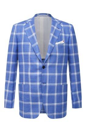 Мужской пиджак из кашемира и шелка KITON синего цвета, арт. UG81K06T02 | Фото 1