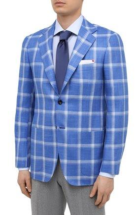 Мужской пиджак из кашемира и шелка KITON синего цвета, арт. UG81K06T02   Фото 3