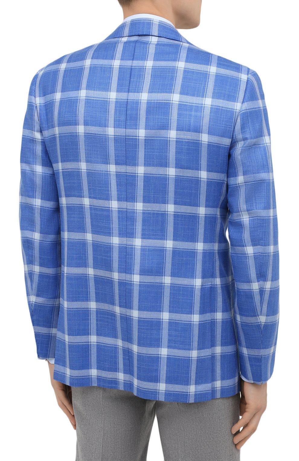 Мужской пиджак из кашемира и шелка KITON синего цвета, арт. UG81K06T02   Фото 4