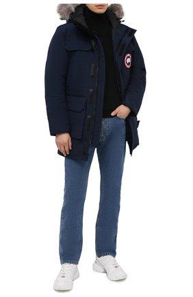 Мужская пуховая парка citadel с меховой отделкой CANADA GOOSE темно-синего цвета, арт. 4567M | Фото 2 (Стили: Спорт-шик; Кросс-КТ: Куртка; Рукава: Длинные; Материал внешний: Синтетический материал; Материал подклада: Синтетический материал; Мужское Кросс-КТ: пуховик-короткий; Материал утеплителя: Пух и перо; Длина (верхняя одежда): До середины бедра)