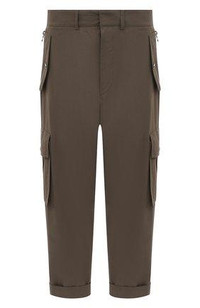 Мужские хлопковые брюки-карго BALMAIN хаки цвета, арт. VH1PQ006/C188 | Фото 1