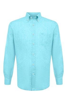 Мужская льняная рубашка PAUL&SHARK бирюзового цвета, арт. 21413030/F7E | Фото 1 (Рубашки М: Classic Fit; Принт: Однотонные; Длина (для топов): Стандартные, Удлиненные; Стили: Кэжуэл; Воротник: Button down; Материал внешний: Лен; Манжеты: На пуговицах; Рукава: Длинные; Случай: Повседневный)