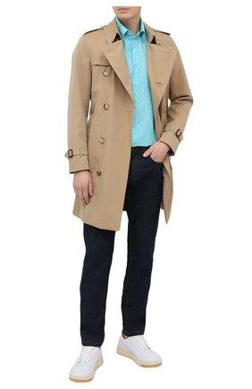 Мужская льняная рубашка PAUL&SHARK бирюзового цвета, арт. 21413030/F7E | Фото 2 (Рубашки М: Classic Fit; Принт: Однотонные; Длина (для топов): Стандартные, Удлиненные; Стили: Кэжуэл; Воротник: Button down; Материал внешний: Лен; Манжеты: На пуговицах; Рукава: Длинные; Случай: Повседневный)