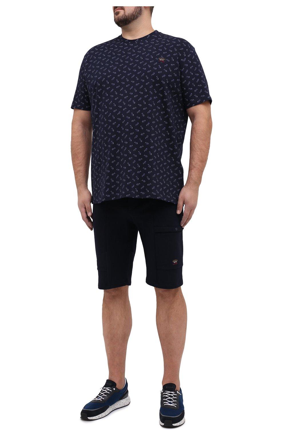 Мужские хлопковые шорты PAUL&SHARK темно-синего цвета, арт. 21411883/C00/3XL-6XL   Фото 2