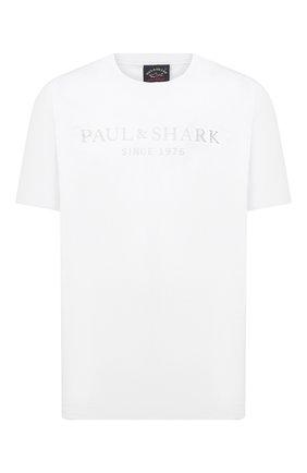 Мужская хлопковая футболка PAUL&SHARK белого цвета, арт. 21411022/C00/3XL-6XL | Фото 1 (Рукава: Короткие; Длина (для топов): Удлиненные; Стили: Кэжуэл; Материал внешний: Хлопок; Принт: С принтом)
