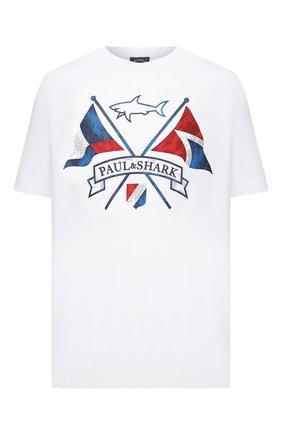 Мужская хлопковая футболка PAUL&SHARK белого цвета, арт. 21411018/C00/3XL-6XL | Фото 1 (Стили: Спорт-шик; Принт: С принтом; Рукава: Короткие; Материал внешний: Хлопок; Длина (для топов): Удлиненные)