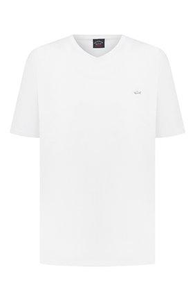 Мужская хлопковая футболка PAUL&SHARK белого цвета, арт. 21411015/C00/3XL-6XL | Фото 1 (Материал внешний: Хлопок; Стили: Кэжуэл; Длина (для топов): Удлиненные; Рукава: Короткие; Принт: Без принта)
