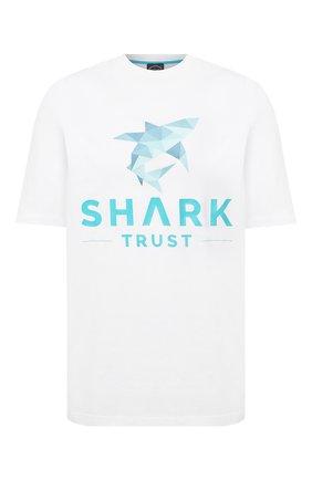 Мужская хлопковая футболка PAUL&SHARK белого цвета, арт. 21411013/C00/3XL-6XL | Фото 1 (Стили: Кэжуэл; Материал внешний: Хлопок; Длина (для топов): Удлиненные; Принт: С принтом; Рукава: Короткие)
