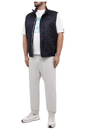 Мужская хлопковая футболка PAUL&SHARK белого цвета, арт. 21411013/C00/3XL-6XL | Фото 2 (Стили: Кэжуэл; Материал внешний: Хлопок; Длина (для топов): Удлиненные; Принт: С принтом; Рукава: Короткие)