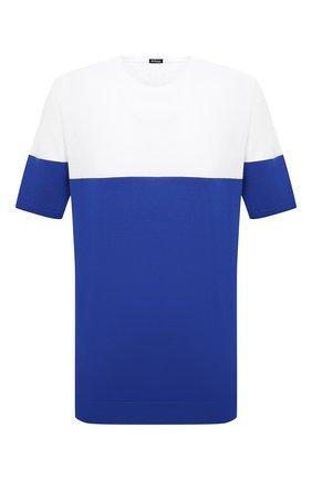 Мужской хлопковый джемпер KITON синего цвета, арт. UK1035L | Фото 1