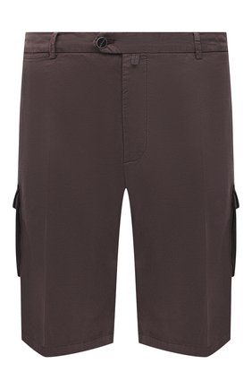 Мужские шорты из хлопка и шелка KITON коричневого цвета, арт. UFPPBJ07T42/44-52 | Фото 1