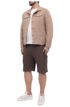Мужские шорты из хлопка и шелка KITON коричневого цвета, арт. UFPPBJ07T42/44-52 | Фото 2