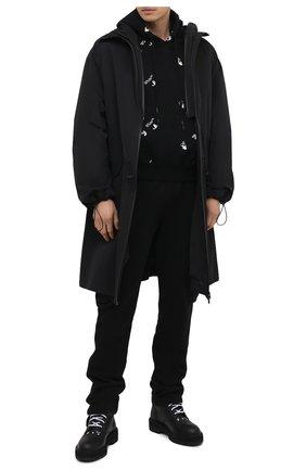 Мужской хлопковое худи OFF-WHITE черного цвета, арт. 0MBB037R21FLE008 | Фото 2 (Мужское Кросс-КТ: Худи-одежда; Длина (для топов): Стандартные; Материал внешний: Хлопок; Стили: Гранж; Рукава: Длинные; Принт: С принтом)