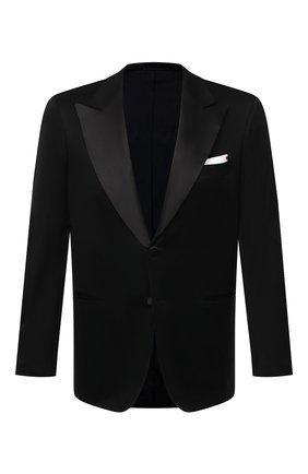 Мужской хлопковый пиджак KITON черного цвета, арт. UGSM862H07609 | Фото 1 (Материал внешний: Хлопок; Длина (для топов): Стандартные; Материал подклада: Купро; 1-2-бортные: Однобортные; Стили: Классический; Рукава: Длинные; Случай: Вечерний; Пиджаки М: Прямой)