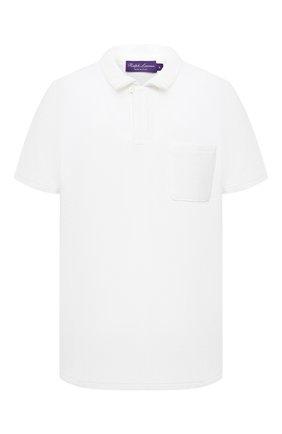 Мужское хлопковое поло RALPH LAUREN белого цвета, арт. 790786064 | Фото 1