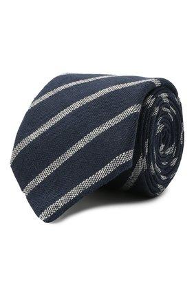 Мужской льняной галстук BRUNELLO CUCINELLI темно-синего цвета, арт. MQ8750018 | Фото 1 (Принт: С принтом; Материал: Лен, Текстиль)