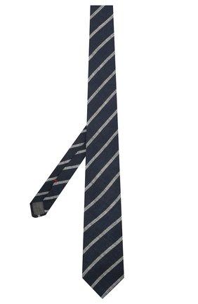 Мужской льняной галстук BRUNELLO CUCINELLI темно-синего цвета, арт. MQ8750018 | Фото 2 (Принт: С принтом; Материал: Лен, Текстиль)