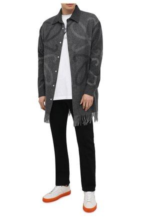 Мужские кожаные кеды SANTONI белого цвета, арт. MBGL21318TI0XDMEI50 | Фото 2 (Подошва: Массивная; Материал внутренний: Натуральная кожа)