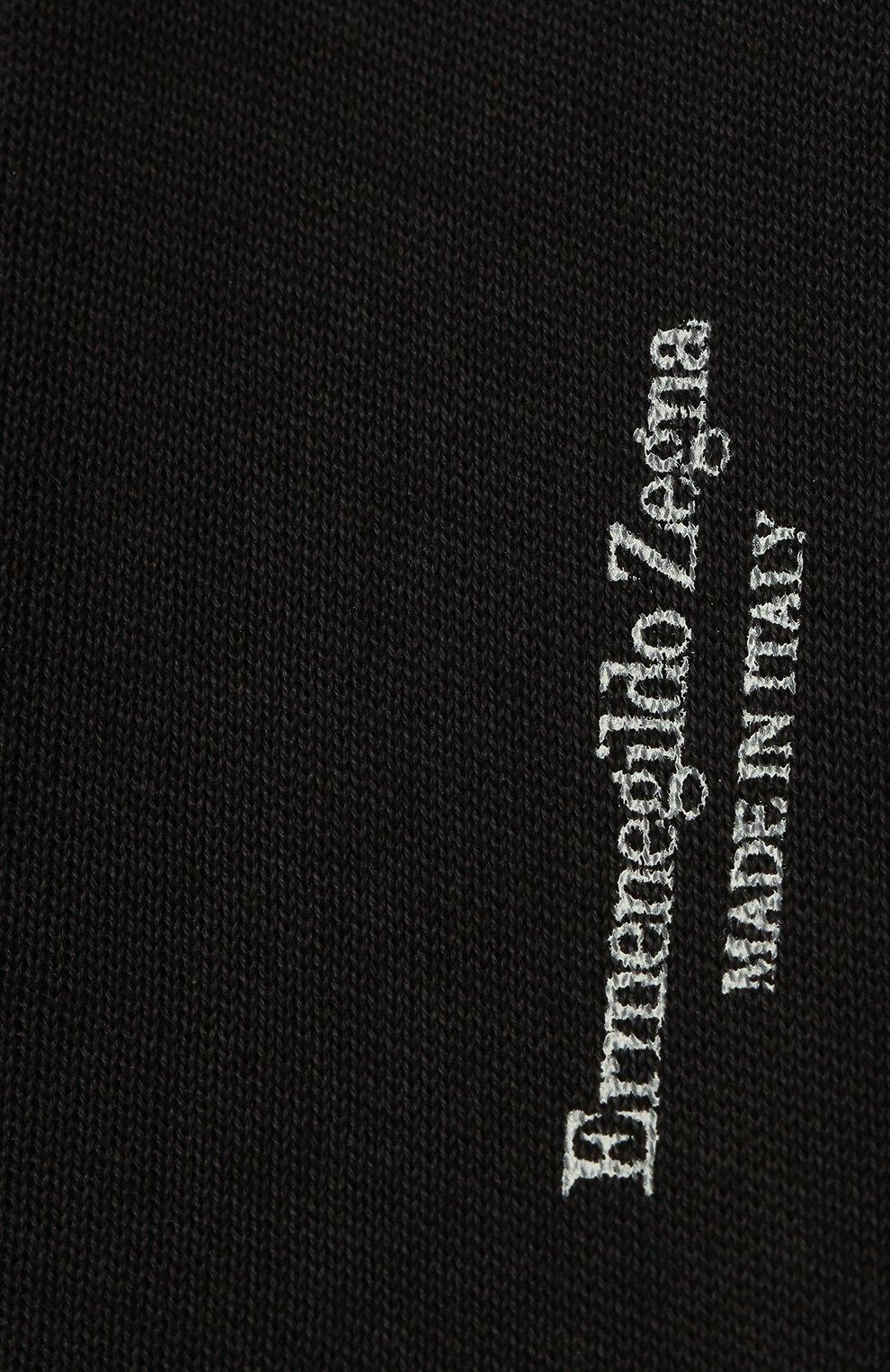 Мужские хлопковые носки ERMENEGILDO ZEGNA темно-серого цвета, арт. N4V400010   Фото 2