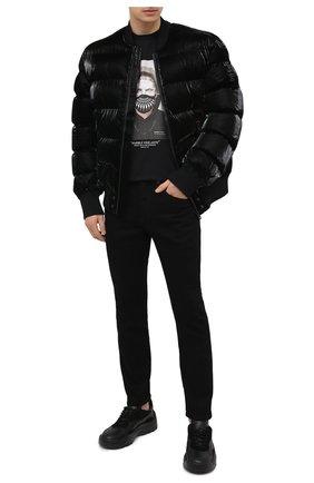 Мужские джинсы NEIL BARRETT черного цвета, арт. PBDE314/Q801T | Фото 2
