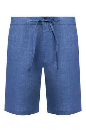 Мужские льняные шорты LORO PIANA синего цвета, арт. FAI5747 | Фото 1 (Стили: Кэжуэл; Материал внешний: Лен; Длина Шорты М: До колена; Принт: Без принта; Мужское Кросс-КТ: Шорты-одежда)