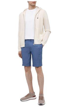 Мужские льняные шорты LORO PIANA синего цвета, арт. FAI5747 | Фото 2 (Стили: Кэжуэл; Материал внешний: Лен; Длина Шорты М: До колена; Принт: Без принта; Мужское Кросс-КТ: Шорты-одежда)