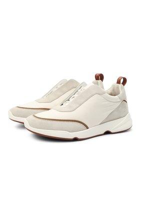 Мужские комбинированные кроссовки modular walk LORO PIANA белого цвета, арт. FAL6187 | Фото 1
