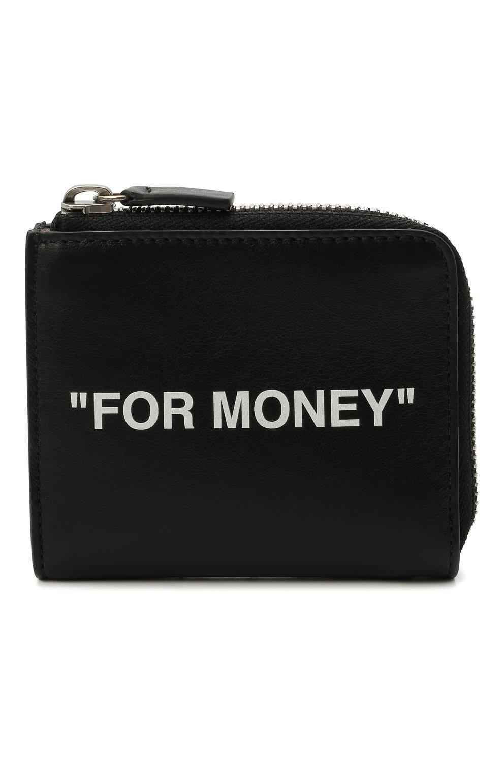 Мужской кожаный кошелек для монет OFF-WHITE черного цвета, арт. 0MNC021R21LEA001   Фото 1 (Материал: Кожа)