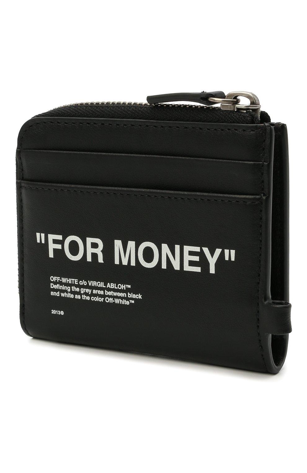 Мужской кожаный кошелек для монет OFF-WHITE черного цвета, арт. 0MNC021R21LEA001   Фото 2 (Материал: Кожа)