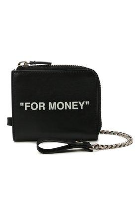 Мужской кожаный кошелек для монет OFF-WHITE черного цвета, арт. 0MNC021R21LEA001   Фото 3 (Материал: Кожа)
