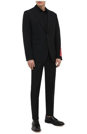 Мужская хлопковая сорочка DSQUARED2 черного цвета, арт. S74DM0523/S35244 | Фото 2 (Воротник: Акула; Рукава: Длинные; Длина (для топов): Стандартные; Принт: Однотонные; Стили: Классический; Материал внешний: Хлопок; Манжеты: На пуговицах; Случай: Повседневный)