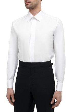 Мужская хлопковая сорочка BRIONI белого цвета, арт. RCXF0L/PZ023   Фото 3