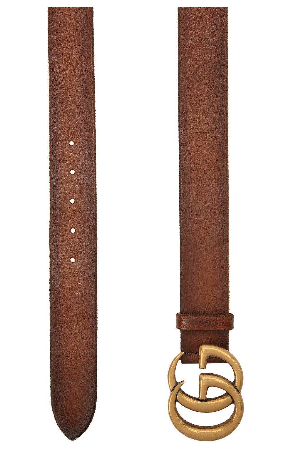 Мужской кожаный ремень GUCCI коричневого цвета, арт. 406831/CVE0T | Фото 2 (Случай: Повседневный)