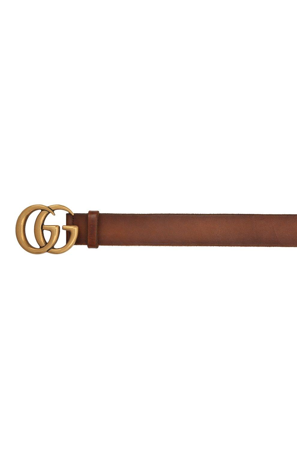 Мужской кожаный ремень GUCCI коричневого цвета, арт. 406831/CVE0T | Фото 3 (Случай: Повседневный)