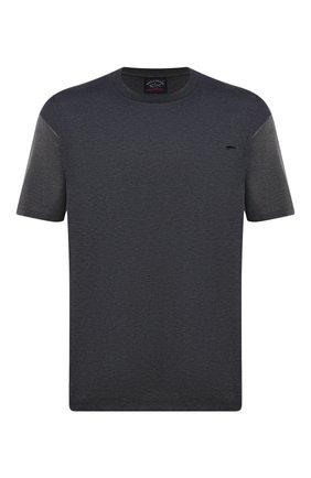 Мужская хлопковая футболка PAUL&SHARK серого цвета, арт. 21411035/C00/3XL-6XL   Фото 1