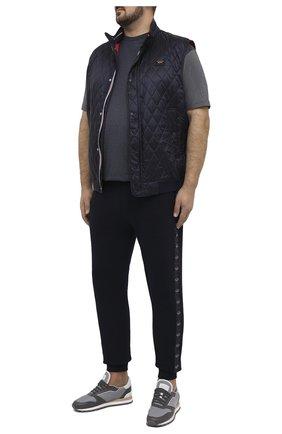 Мужская хлопковая футболка PAUL&SHARK серого цвета, арт. 21411035/C00/3XL-6XL   Фото 2