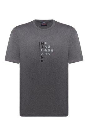 Мужская хлопковая футболка PAUL&SHARK серого цвета, арт. 21411059/C00/3XL-6XL   Фото 1