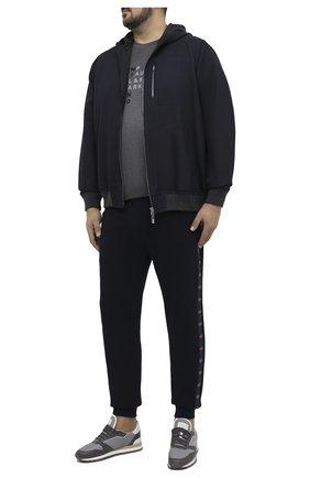 Мужская хлопковая футболка PAUL&SHARK серого цвета, арт. 21411059/C00/3XL-6XL   Фото 2