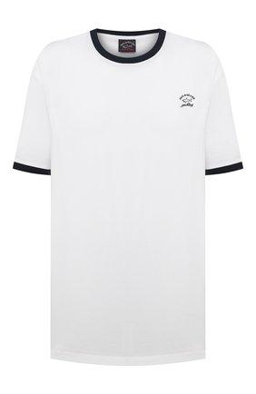 Мужская хлопковая футболка PAUL&SHARK белого цвета, арт. 21411067/C00/3XL-6XL | Фото 1 (Длина (для топов): Удлиненные; Рукава: Короткие; Принт: Без принта; Стили: Кэжуэл; Материал внешний: Хлопок)