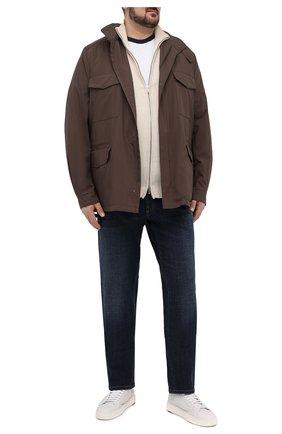 Мужская хлопковая футболка PAUL&SHARK белого цвета, арт. 21411067/C00/3XL-6XL | Фото 2 (Длина (для топов): Удлиненные; Рукава: Короткие; Принт: Без принта; Стили: Кэжуэл; Материал внешний: Хлопок)