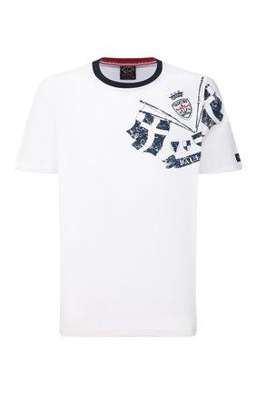 Мужская хлопковая футболка PAUL&SHARK белого цвета, арт. 21411073/C00/3XL-6XL | Фото 1