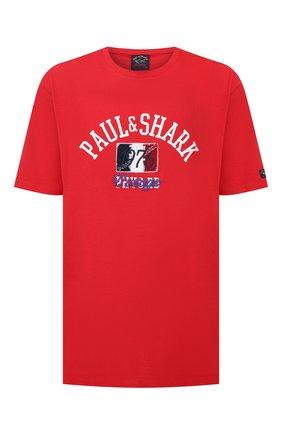 Мужская хлопковая футболка PAUL&SHARK красного цвета, арт. 21411076/C00/3XL-6XL | Фото 1